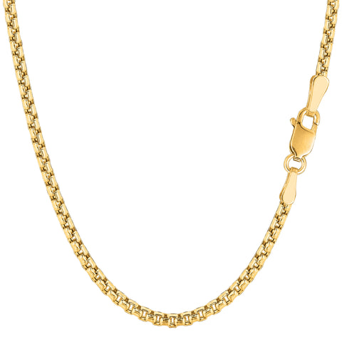 14K Yellow Gold Filled Round Box Chain Bracelet, 3.4mm, 8.5""