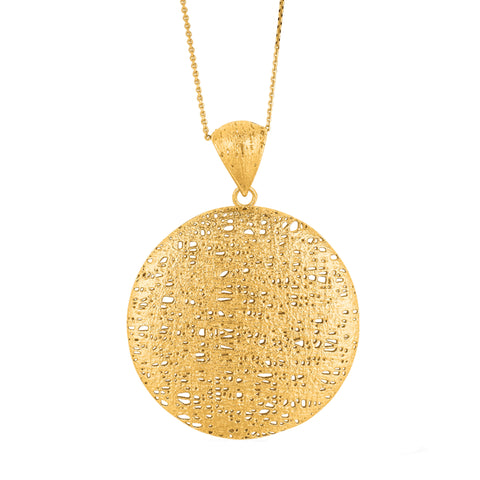 14K Yellow Gold Fancy Mesh Textile Round Pendant Necklace, 18""