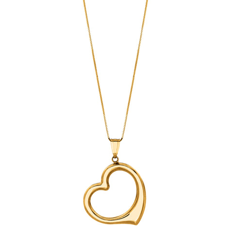 "14k Gold Open Heart Pendant On 18"" Necklace"