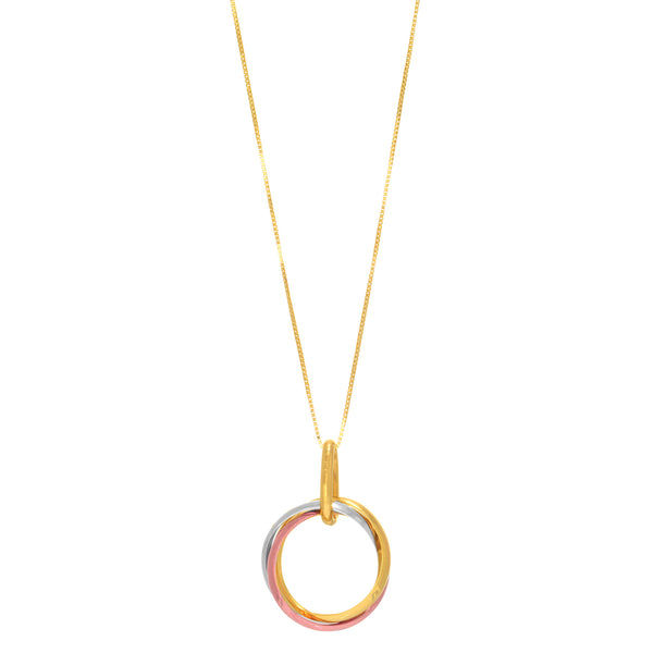14k Tricolor Rose Gold Open Trinity Ring Pendant Necklace, 18""