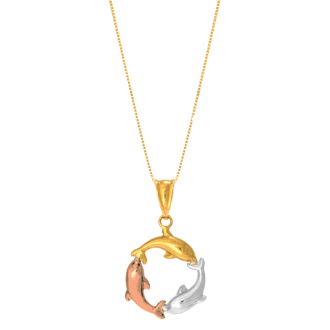 14k Tricolor Rose Gold Three Circling Dolphins Pendant Necklace, 18""