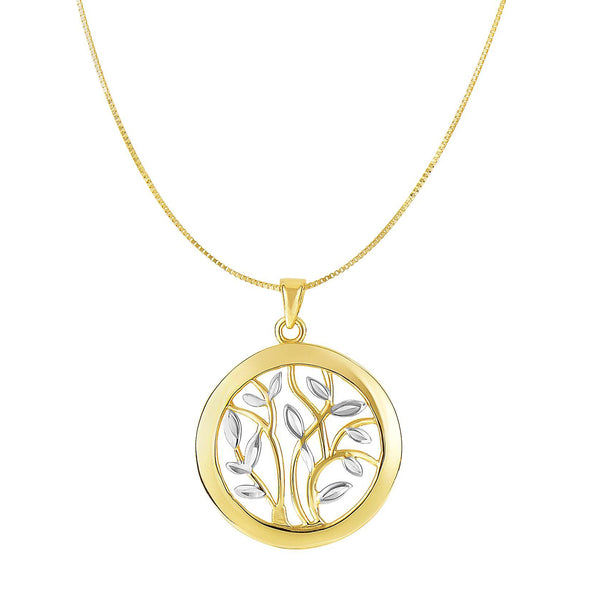 14k Yellow And White Gold Round Tree Of Life Necklace, 18""