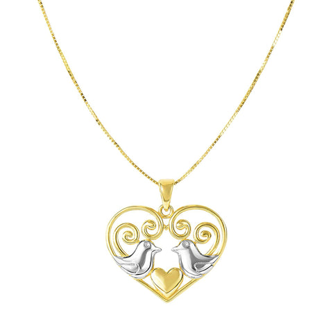 14k Yellow Gold Cable Chain Heart Necklace, 18""