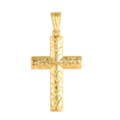14k Yellow Gold Shiny Diamond Cut Fancy Cross Pendant 15x30 mm