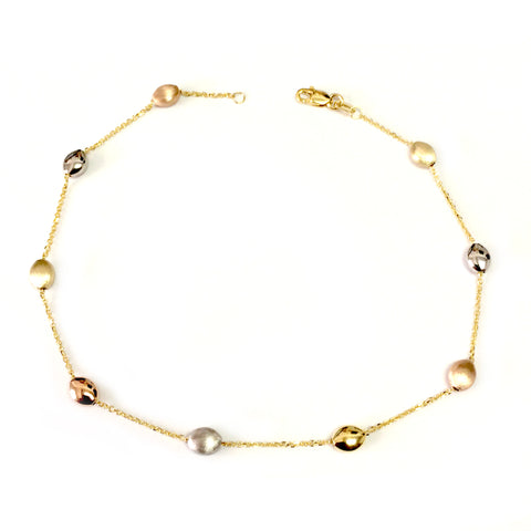 14K Yellow White And Rose Gold Charms Fancy Anklet, 10""