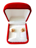 14k Gold Shiny And Textured Triple Row Love Knot Stud Earrings, 10mm - JewelryAffairs  - 12