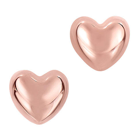 14k Gold Shiny Puff Heart Shape Stud Earrings 7 x 8mm