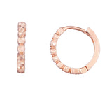14K Gold Diamond Cut Round Huggie Hoop Earrings, 12mm