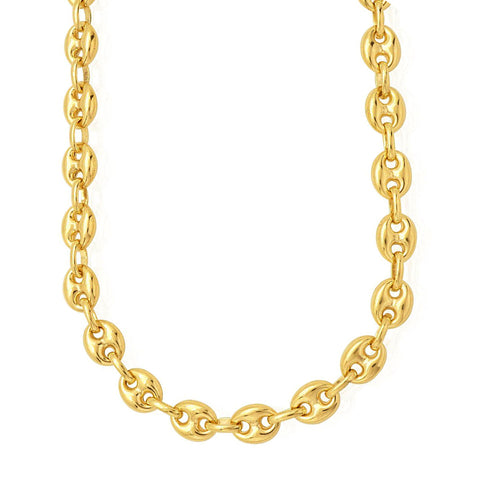 14k Yellow Gold Puffed Mariner Link Chain Necklace, 11mm