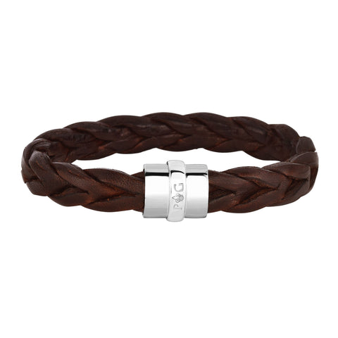 Sterling Silver And Round Braided Brown Leather Bracelet, 8.25""