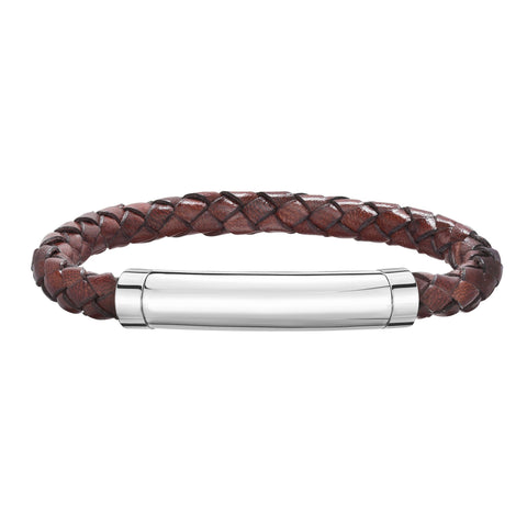 Sterling Silver And Round Woven Brown Leather Bracelet, 8.25""