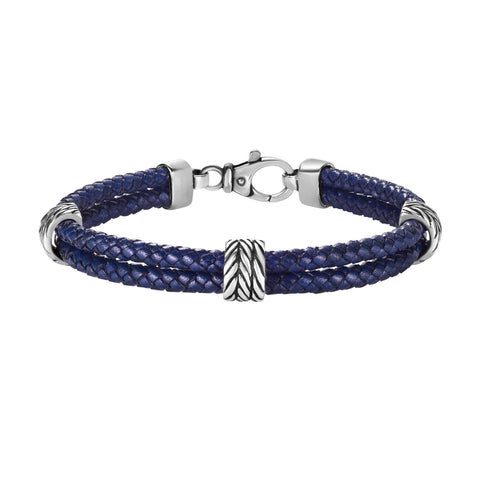 Sterling Silver And Oxidized Finish Woven Blue Leather Bracelet, 8.25""