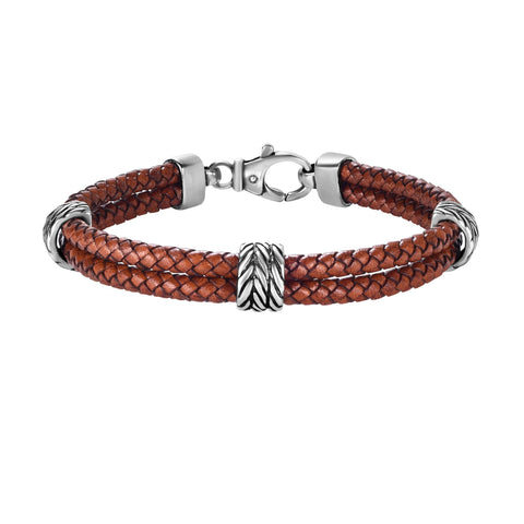 Sterling Silver And Oxidized Finish Woven Brown Leather Bracelet, 8.25""