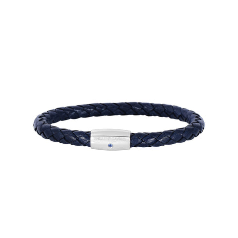 Sterling Silver And Round Woven Blue Leather Bracelet, 8""