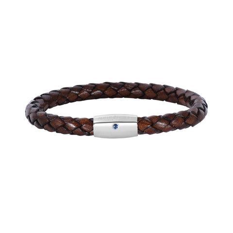 Sterling Silver And Round Woven Brown Leather Bracelet, 8""