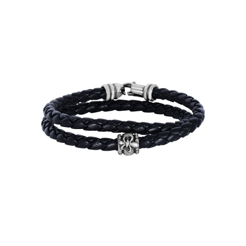 Sterling Silver And Oxidized Fleur De Lis Symbol Leather Bracelet, 8""