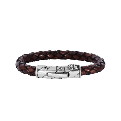Brown Braided Leather And Oxidized Silver Fleur De Lis Symbol Bracelet, 8""