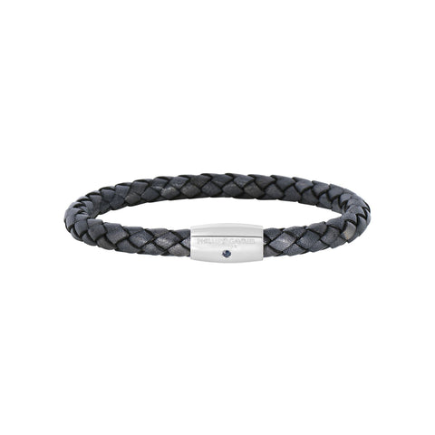 Sterling Silver And Round Woven Grey Leather Bracelet, 8""