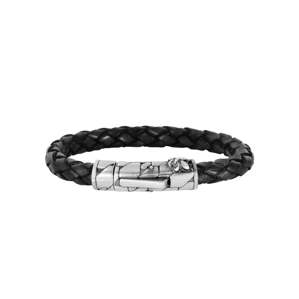 596db6e40060 Black Braided Leather And Oxidized Silver Fleur De Lis Symbol Bracelet –  JewelryAffairs