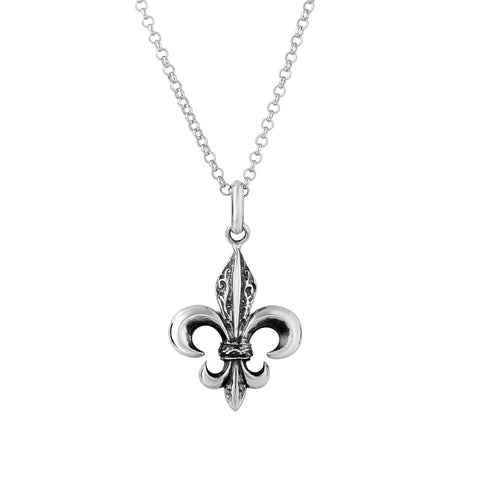 Oxidized Sterling Silver Fleur De Lis Necklace, 18""