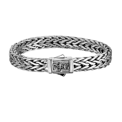 Sterling Silver With Rhodium Finish Square Weave Mens Bracelet, 8.25""