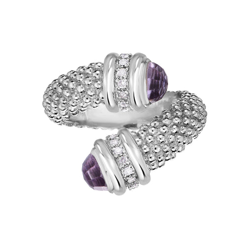 Sterling Silver Amethyst And Diamonds Bybass Ring