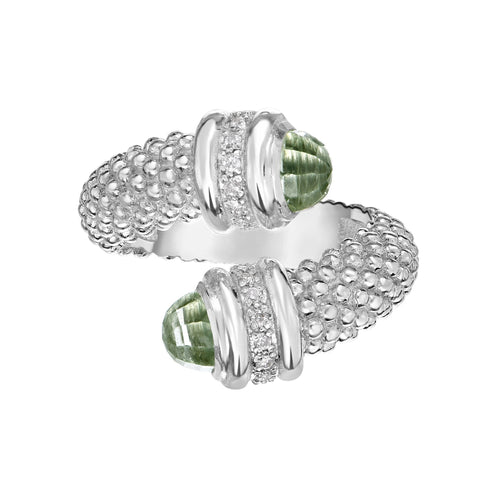 Sterling Silver Green Amethyst And Diamonds Bybass Ring