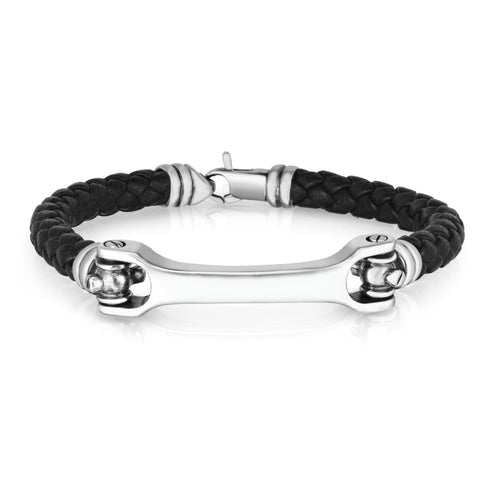 Sterling Silver And Round Woven Black Leather Bracelet, 8.25""