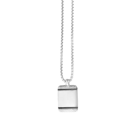 Sterling Silver Tog Tag Men's Pendant Necklace, 22""