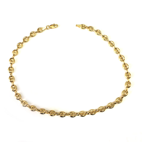 14K Yellow Gold Diamond Cut Mariner Chain Anklet, 10""