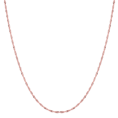 14k Rose Gold Singapore Chain Necklace, 1.0mm