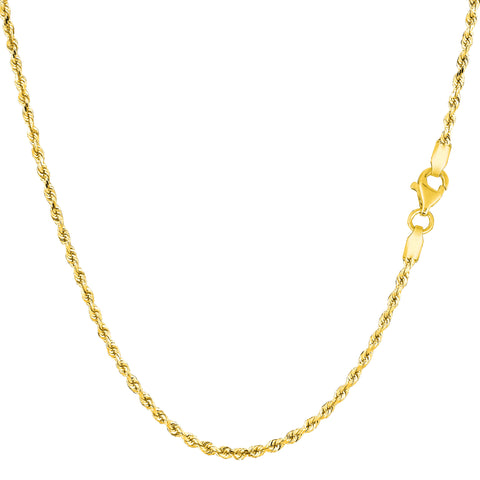 10k Yellow Solid Gold Diamond Cut Rope Chain Necklace, 1.5mm