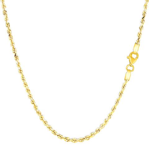 10k Yellow Solid Gold Diamond Cut Rope Chain Necklace, 2.0mm