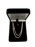 14k Yellow Solid Gold Diamond Cut Rope Chain Necklace, 2.0mm