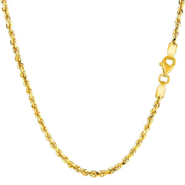 14k Yellow Solid Gold Diamond Cut Rope Chain Necklace, 2.25mm