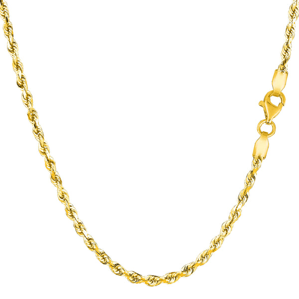 14k Yellow Solid Gold Diamond Cut Rope Chain Necklace, 2.5mm