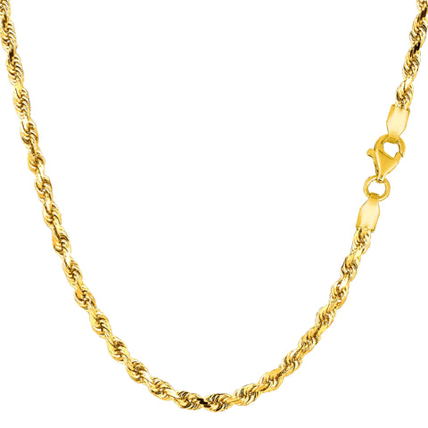 10k Yellow Solid Gold Diamond Cut Rope Chain Necklace, 3mm