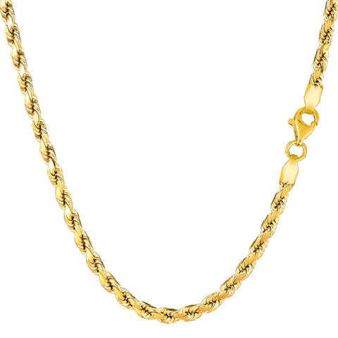 14k Yellow Solid Gold Diamond Cut Rope Chain Necklace, 3.5mm