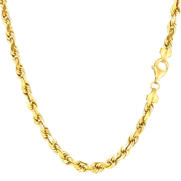 14k Yellow Gold Solid Diamond Cut Royal Rope Chain Necklace, 4.0mm