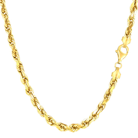 14k Yellow Solid Gold Diamond Cut Rope Chain Necklace, 4.0mm