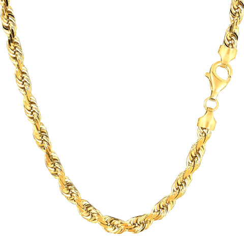 14k Yellow Solid Gold Diamond Cut Rope Chain Necklace, 5.0mm