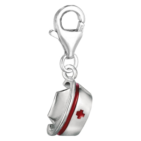 Sterling Silver And Enamel Clip On Nurses Cap Charm