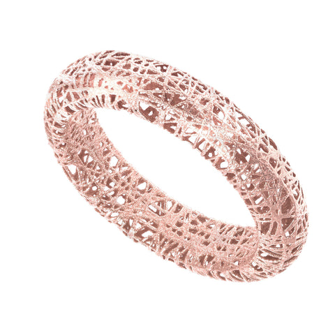 14k Rose Gold Mesh Textured Band Ring, Size 7