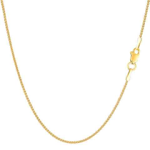 14k Yellow Gold Round Wheat Chain Necklace, 1.15mm