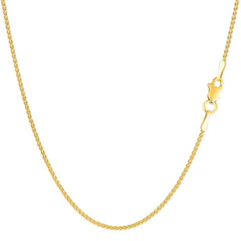 14k Yellow Gold Round Wheat Chain Necklace, 1.2mm - JewelryAffairs  - 1