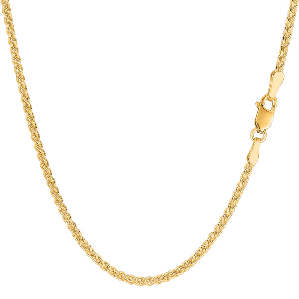 14k Yellow Gold Round Wheat Chain Necklace, 2.1mm - JewelryAffairs  - 1