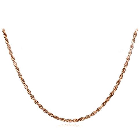 14k Rose Solid Gold Diamond Cut Rope Chain Necklace, 1.5mm