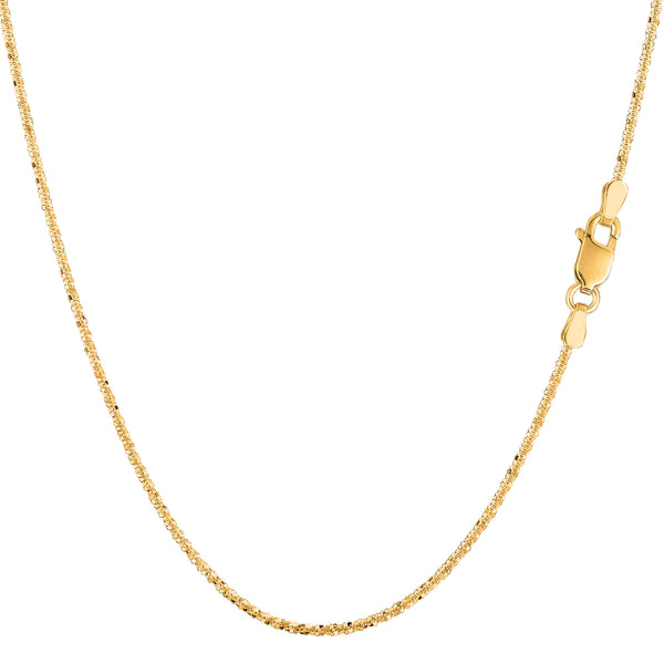 14k Yellow Gold Sparkle Chain Necklace, 0.9mm