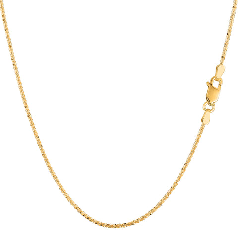 14k Yellow Gold Sparkle Chain Necklace, 0.9mm - JewelryAffairs  - 1