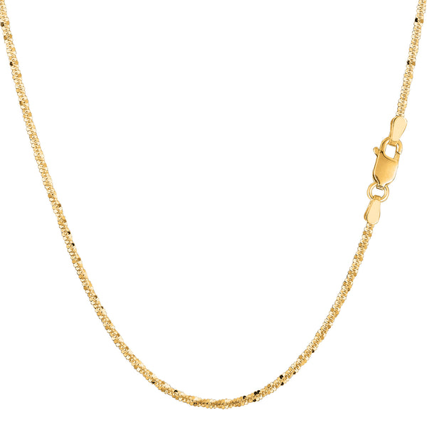 14k Yellow Gold Sparkle Chain Necklace, 1.5mm